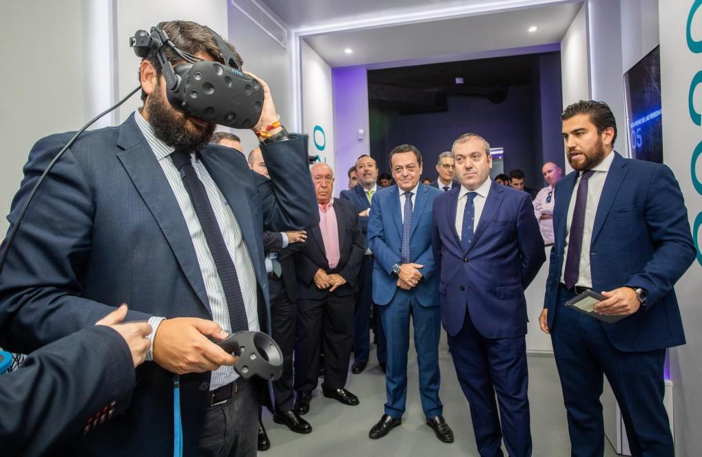 El presidente de la Región de Murcia, en un momento de la inauguración de SecurSpace